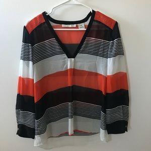 Kersh Orange, Black & White Sheer Striped Blouse